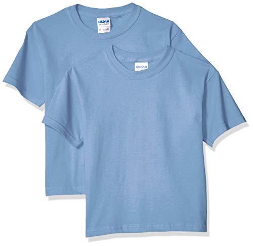 Gildan Kids' Big Ultra Cotton Youth T-Shirt, 2-Pack, Carolina Blue, Large