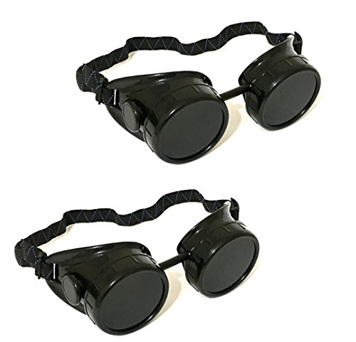 2 ALAZCO Black Welding Oxy-Acetylene Goggles Steampunk - 50mm Eye Cup #5 Lens - Welding, Torching, Soldering, Brazing & Cutting Metals - Made in ()
