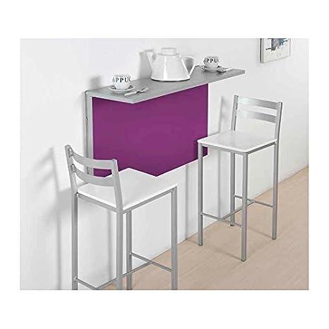Amuebla 674. Mesa DE Cocina A Pared DE 90 X 30/50 CM.