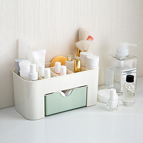 Coverhome Makeup Storage Basket Cosmetic Box Organiser Versatile Sorting Box Drawer Type Box for Desks Shelves Bathroom Kitchen (22 * 10 * 10.3 CM, Pink)
