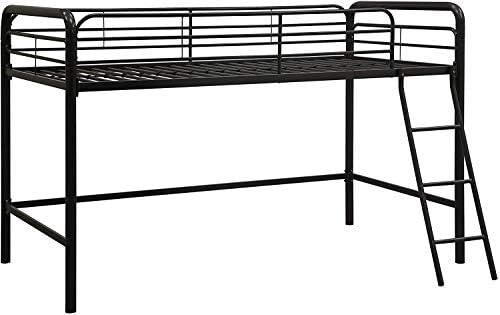 dhp junior loft bed frame with ladder, multifunctional space-saving design, black DHP Junior Loft Bed Frame with Ladder, Multifunctional Space-Saving Design, Black 413EPOBSyDL