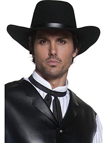 Smiffys Men's Western Gunslinger Hat, Black, Wide Brimmed, One Size, 36338