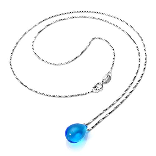 Top Plaza Women Ladies Elegant Simple Mini Mermaid's Tears Drop Glass Alloy Chain Unadjustable Pendant Necklace,Valentine's Day Birthday Gift For Couple Girlfriend(Blue)