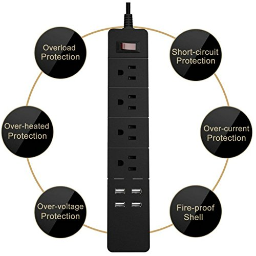 Power Strip Surge Protector 4-Outlets with 4 High Speed USB Charger Extension Cord 2000W/15A for iPhone iPad Samsung Smartphone Tablet Laptop, 6Ft Cord (Black) by Asunflower (Image #3)