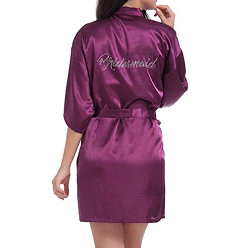 Abbigliamento Accappatoio da d'onore donna Hibote da Abiti Vestiario Deep Pigiama da Pigiameria casa Viola Accappatoio Accappatoio Kimono donna Damigella qAx7w7X65
