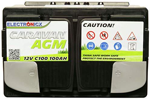 413EQ%2BVi78L Electronicx Caravan Edition Batterie AGM 100AH 12V Wohnmobil Boot Versorgung Solarbatterie Versorgungsbatterie 100ah