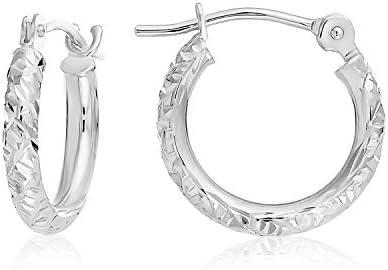 14k Gold Hand Engraved Diamond-cut Round Hoop Earrings, (0.5 inch Diameter)