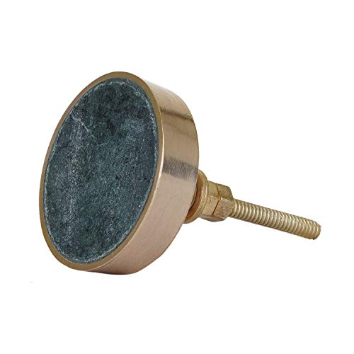 (Set of 4 Round Marble and Brass Knobs or Pulls for Cabinets, Dressers and Drawers (4))