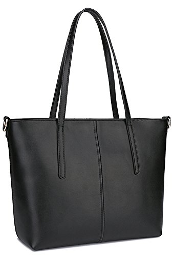 BeAllure Women's Luxury Genuine Leather Design Tote Shoulder Bags Casual Handbag Top Handle for Work,Casual,Shopping,College,Black