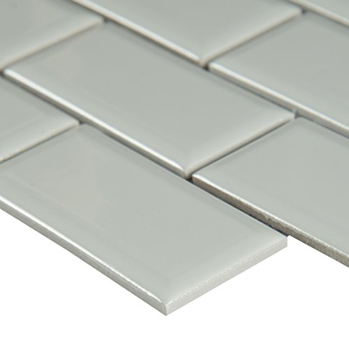 IBEV2X4G White Glossy Staggered x 12 in. x 6 mm Beveled Porcelain Floor and Wall Tile, (16.68 sq. ft./case), Mosaic ()