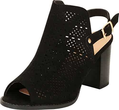 fe1a854521c Cambridge Select Women s Open Toe Lasercut Perforated Slingback Chunky  Stacked Block Heel Sandal