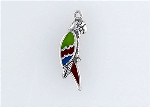 Sterling Silver Enamel Green Parrot or McCaw Charm Jewelry Making Supply, Pendant, Charms, Bracelet, DIY Crafting by Wholesale Charms