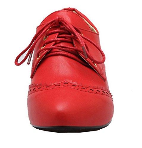 Luccichio Punta Tacco Chiusa Ballet Basso Flats Allacciare Rosso Donna VogueZone009 cwWA6xp