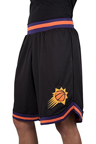 fan products of NBA Men's Phoenix Suns Mesh Basketball Shorts Woven Active Basic, Large, Black