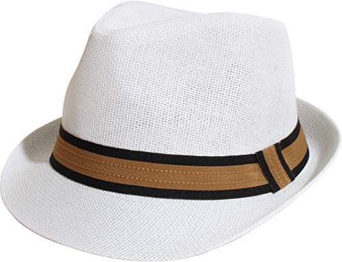Enimay Unisex Vintage Fedora Hat Classic Timeless Light Weight (L/XL, 2120 Tanband White)