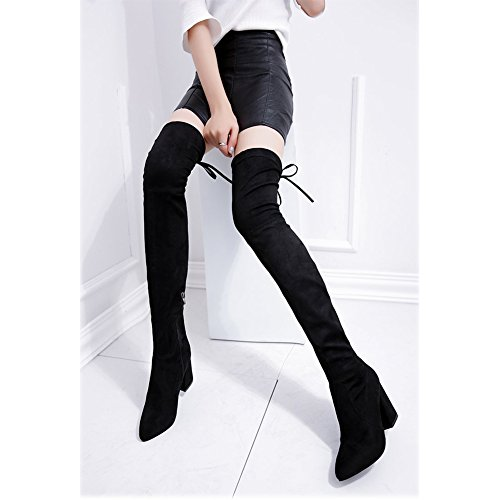 Women's Boot Warm Black High Over Winter Knee Black Heeled q05wxYqrp
