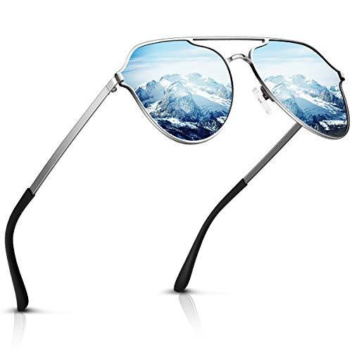 Aviator sunglasses for Men Womens Polarized Retro Vintage Shades (Blue New)