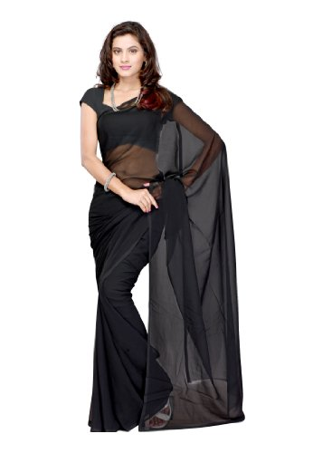 Plain Solid Indian Saree with Unstitched Blouse Piece ()