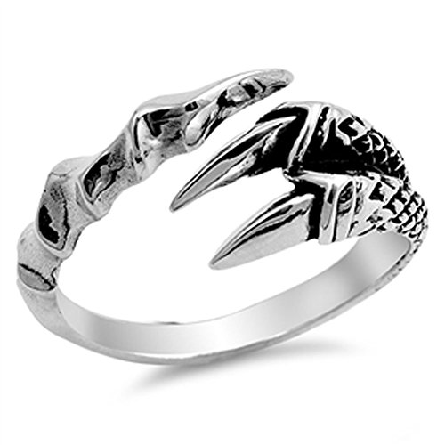 Fang Silver Ring (Teeth Fang Talon Biker Ring New .925 Sterling Silver Open Band Size 6)