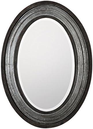 MY SWANKY HOME Industrial Loft Metal Oval Wall Mirror Vanity Silver Gray Rustic