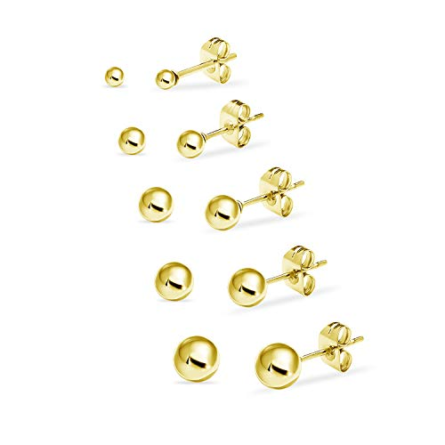(Stainless Steel Round Ball Studs Earrings 5 Pair Set Assorted Sizes Yellow Gold Tone)