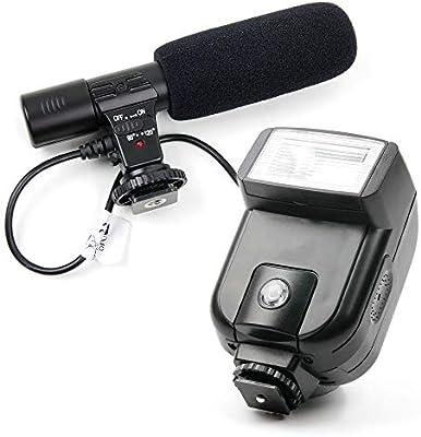 DURAGADGET Micrófono estéreo + Flash para cámara Canon EOS 600D ...
