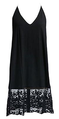 Marilyn & Main Women's T-Back Midi Lace Slip Night Dress (Small, Black)