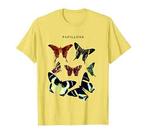 Papillons Butterfly Chart Pollinator Butterflies Vintage Bug T-Shirt