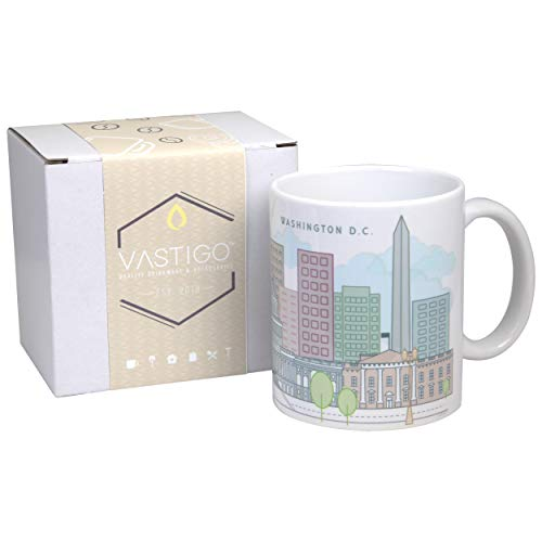 Vastigo 11 Oz. Ceramic Mug with Top Cities in America (Washington D.C.)