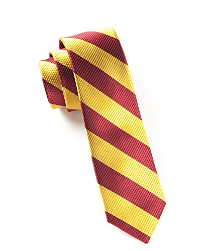 The Tie Bar 100% Woven Silk Twill Burgundy and Gold Striped Tie