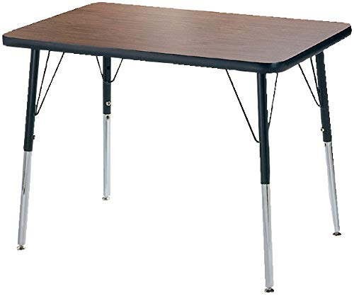 Classroom Select T-Mold Activity Table, Rectangle, Adjustable Height, 24 x 48 Inches, Top Color: Bannister Oak/Edge Color: Black