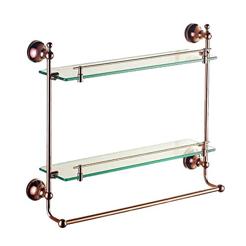 (Bathroom Shelves Bathroom Shelf Double Glass Shelf Tempered Glass Countertop Wall Mount Cosmetic Bathroom Essential Storage Rack (Color : Brass, Size : 4340cm))