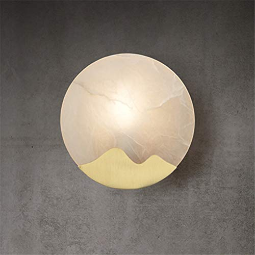 Xinjiahe Alabaster Brass Wall Lamp Nordic Modern Creative Wall Lamp for Bedroom/Bedside/Living Room/Corridor Decorate Wall Light Lighting E14 ()