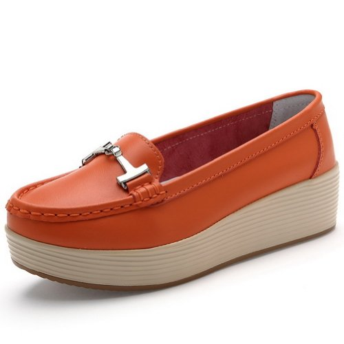 AmoonyFashion Womens Closed Round Toe Kitten Heel Cow Leather Soft Material Dermis Solid Pumps with Metal Orange MHmDMjG