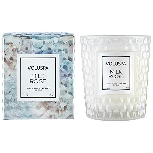 Voluspa Milk Rose Classic Textured Glass Candle, 6.5 Ounces
