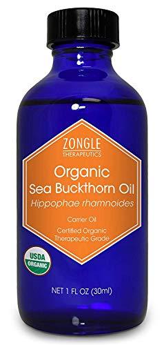 Zongle USDA Certified Organic Sea Buckthorn Oil, Unrefined Virgin, Cold Pressed, Hippophae Rhamnoides, 1 OZ