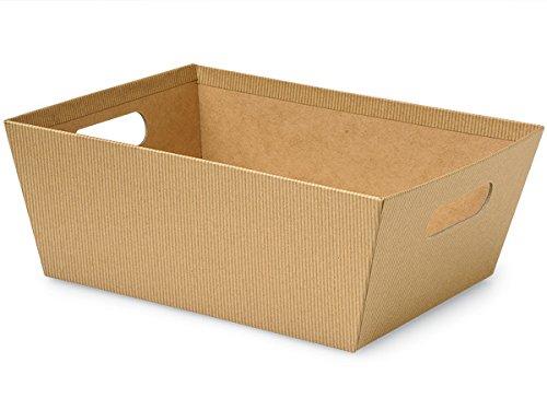 Pack of 3, Kraft Pinstripe X-Large Wide Base Market Trays 9.5 x 12
