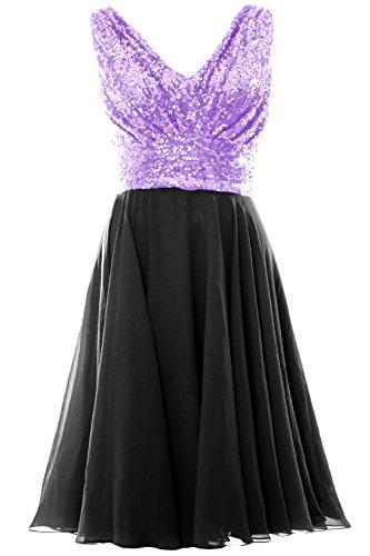 MACloth Women V Neck Sequin Chiffon Short Bridesmaid Dress Formal Evening Gown Negro
