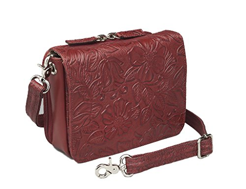 Concealed Carry Purse - Crossbody Organizer by Gun Tote'n Mamas (Tooled Cherry) -