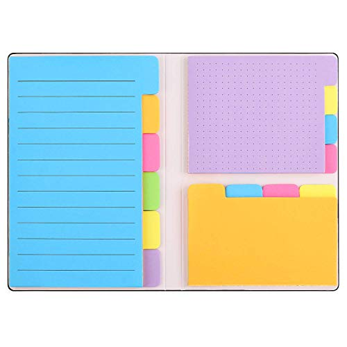 Sticky Notes Set with Bookmark Index - 140 Pages Divider Sticky Notes Bundle, 60 Ruled Lined Notes (4x6), 40 Dotted Notes (3x4), 40 Blank Notes (2.6x4) for Planner Bullet Journal Notebook Textbook