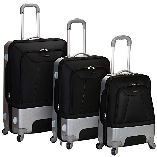 Rockland Luggage Rome Polycarbonate 3 Piece Luggage Set, Black, One Size