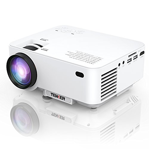 TENKER Upgrade +10% Lumens 4.0'' LCD Mini Projector, Portable Home Theater Projector with 170'' Display, Supports 1080P, HDMI, USB, SD Card, AV & VGA for TV, Laptops, Games and Smartphones by TENKER