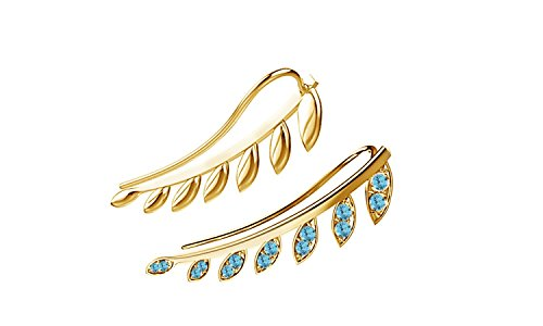Simulated Aquamarine Ear Crawler Cuff Earrings 14k Yellow Gold Over Sterling Silver Climber Studs Olive Leaf ()