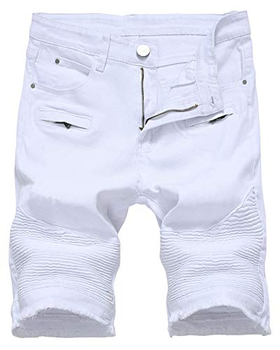 Men's Moto Biker Jeans Shorts Cool Stylish Wrinkle Performance Slim Ripped Denim Shorts, 2205-White, US 36 /Tag - Mens Zip Jeans