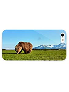 3d Full Wrap Case for iPhone 5/5s Animal Bear In The Green Grass