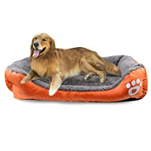ANPI Pet Bed, Soft Warm Machine Washable Bolstered Microfiber Modern Design Deluxe Pet Cushion Nest Cave Bed Sofa for Cat Dog Rabbit Puppy Pet (Large, Orange)