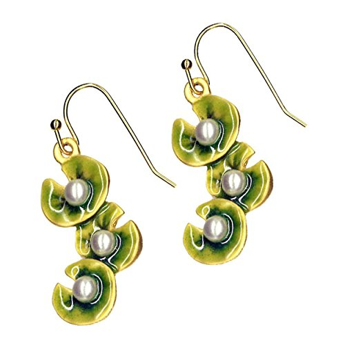 Gold Finish Polished Green Enamel Monet Water Lilies Simulated Pearl Drop Earrings 1.5