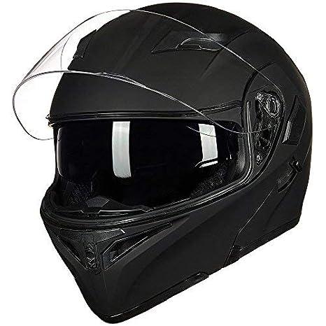 M, White ILM Motorcycle Dual Visor Flip up Modular Full Face Helmet DOT with 7 Colors
