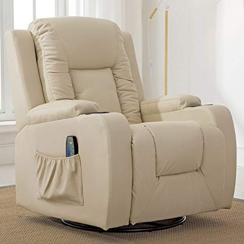 ComHoma Leather Recliner Chair Modern Rocker with Heated Massage Ergonomic Lounge 360 Degree Swivel Single Sofa Seat with Drink Holders Living Room Chair Cream White