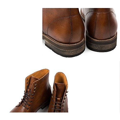 Vintage NTUMT High Pelle Inverno Autunno Britanniche Scarpe Scarpe in E da Stivali Brock Cavaliere Winered Stringate Stivali Top qORpYqr